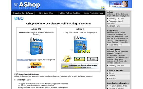AShop eCommerce Shopping Cart Software