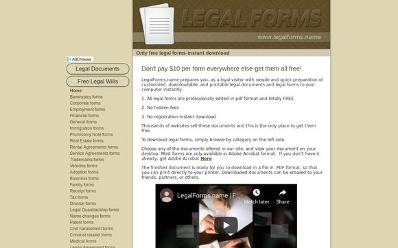 Free Legal Forms, Documents, Papers At Legalforms.name