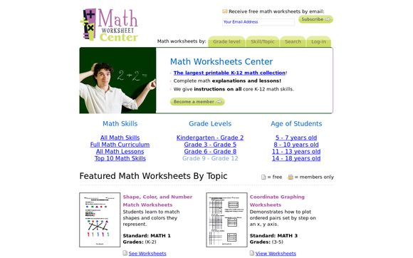 Math Worksheets Center